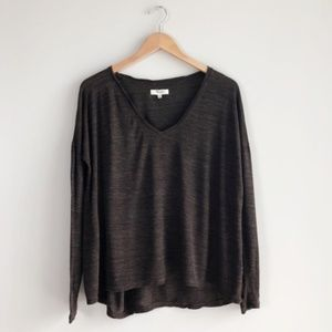 Madewell V-Neck Long Sleeve Top Brown Sz S #07912